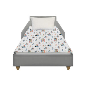 This Character weighted blanket lies on top of a Toddler size bed with no overhang