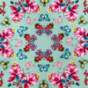 Fun printed cotton front of butterflies on green background for a calming weighted blanket