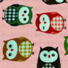 Fun printed cotton front of owls on a pink background for a calming weighted blanket