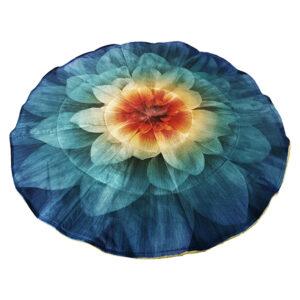Blue round flower weighted blanket