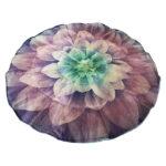 Purple flower round weighted travel blanket