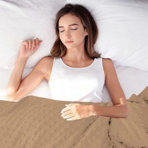 Calming beige sensory minky weighted blanket