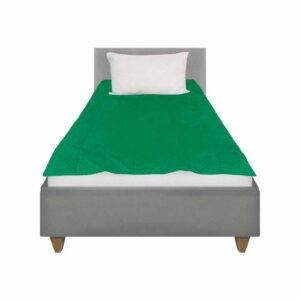 This sensory minky weighted blanket lies on top of a single bed with no overhang for the best calming effect