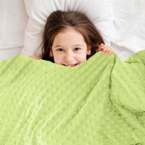 Lime green calming anti-anxiety sensory minky weighted blanket