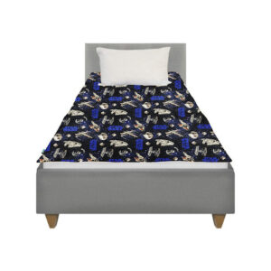 This Character Weighted blanket made with Star Wars fabric lies on top of a single bed with no overhang for the best calming effect