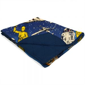 Calming weighted blanket made with blue Star Wars licensed fabric