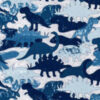 Blue dinosaur fabric for custom-made weighted blanket