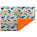 Dinosaurs on grey weighted lap pad