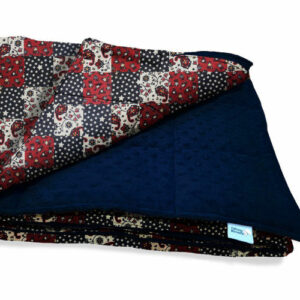 Red patchwork and navy sensory minky weighted blanket