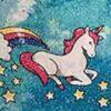 Blue Glitter Unicorns Print
