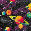 Purple solar system printed cotton fabric swatch for a weighted blanket