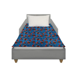 This weighted blanket made with a licensed Spiderman fabric lies on top of a Toddler size bed with no overhang for the best calming effect