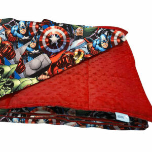Weighted blanket made with licensed Avengers printed cotton