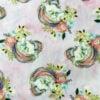 Pink fabric swatch with Gold Glitter Unicorns