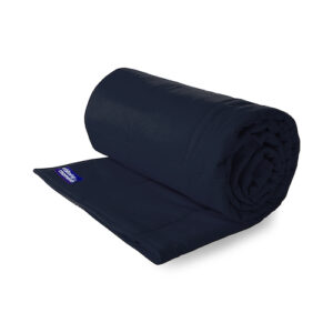 Navy single cotton weighted blanket with old logo