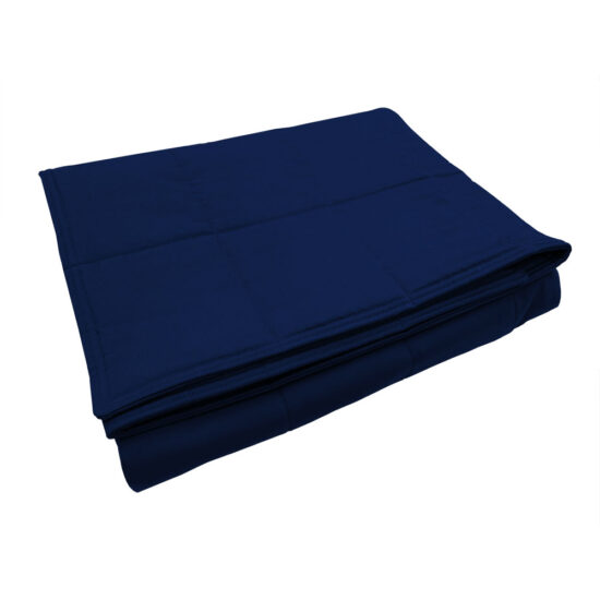 Navy cotton weighted blanket folded
