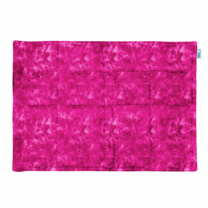 Pink abstract fabric for a weighted lap pad