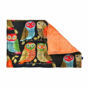 3.0kg weighted lap pad made with large owls printed cotton and orange sensory minky