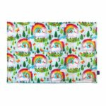 Weighted lap pad made with rainbows and unicorns printed cotton