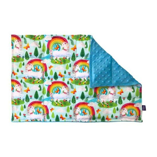 1.5kg weighted lap pad made with rainbow and unicorns printed cotton