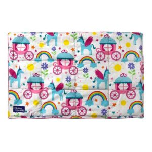 large 2.0kg lap pad made with unicorns and carriages printed cotton front