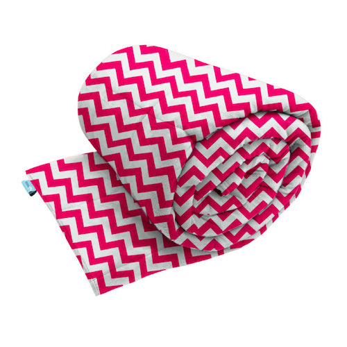 Weighted blanket made with hot pink zig zag pattern smooth minky fabric